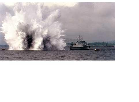 Pembroke undergoing shock trials at Rosyth 99 (brown trousers all round)
