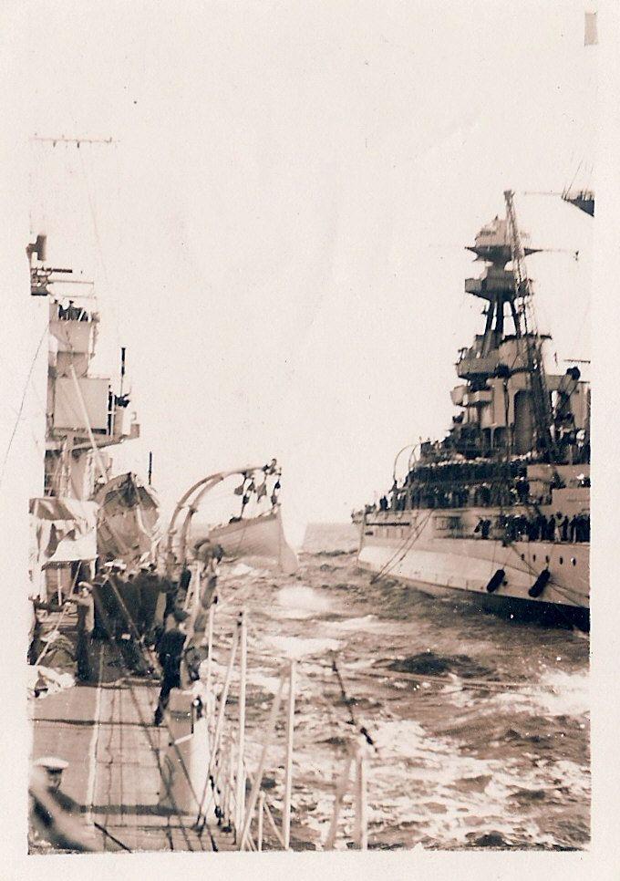 HMS Ramilies Refueling at sea 1935