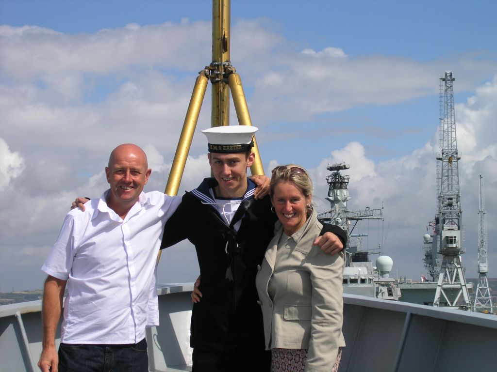 Mum and Dad with the Big fella on his return from falklands July 17th 2007
