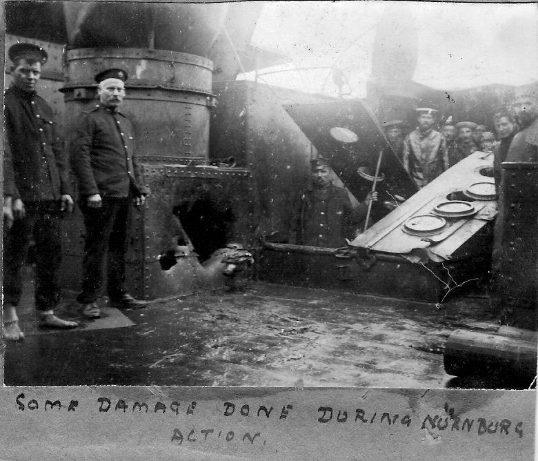 HMS Kent battle damage, Falklands 1914