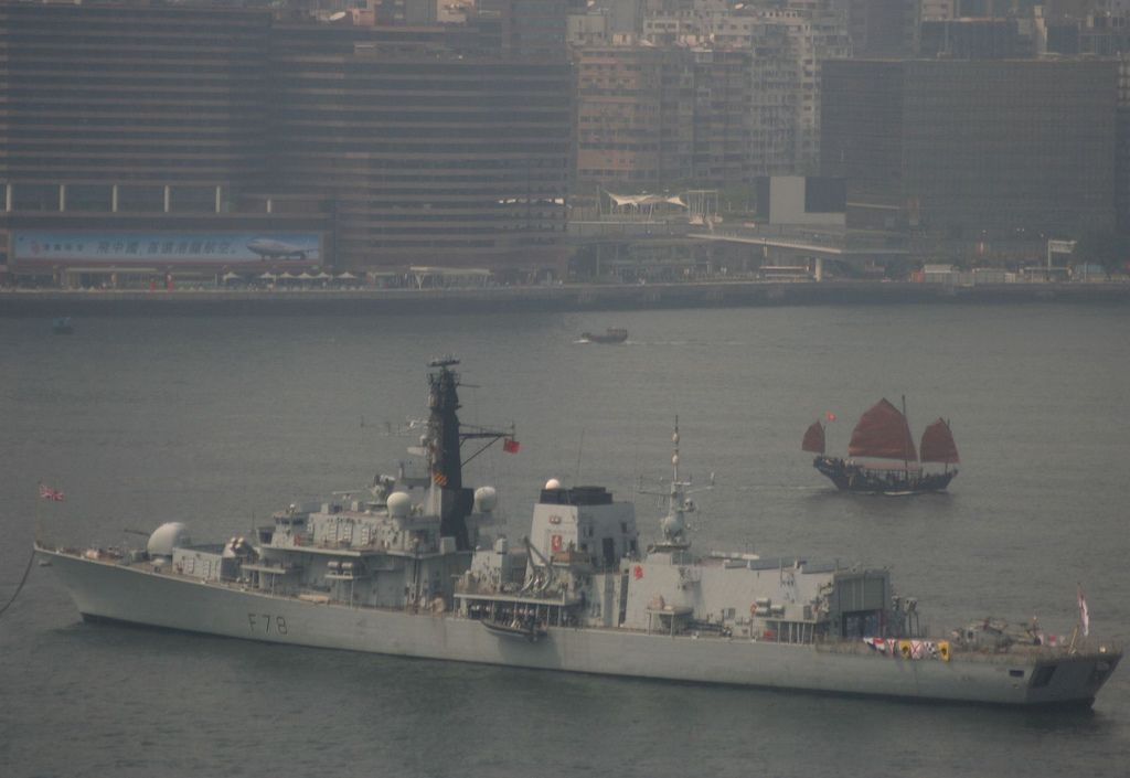 HMS KENT VISITS HONG KONG and the tourism board junk