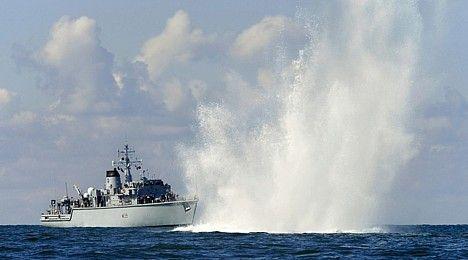 HMS Hurworth clearing wartime ordnance