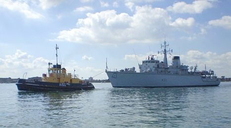 HMS Cattistock under tow in Portsmouth harbour 2007