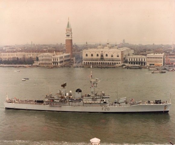 HMS Cleopatra entering Venice 1980