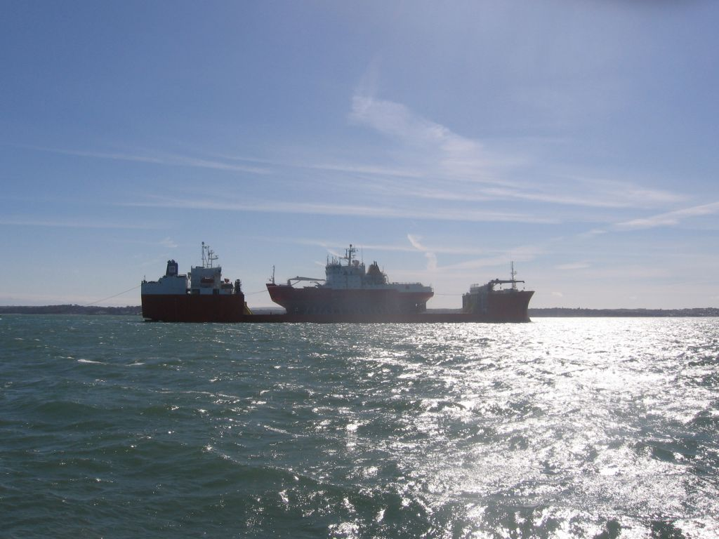 MV Target & HMS Endurance arriving in the Solent.