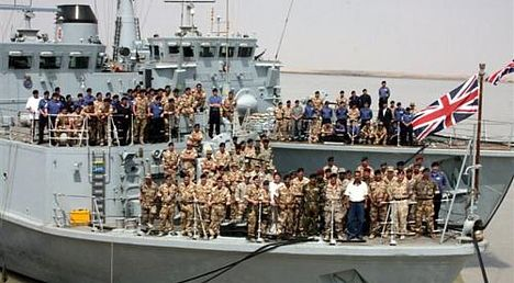 HMS Blyth and HMS Atherstone in Umm Qasr, Iraq in Sep 2008