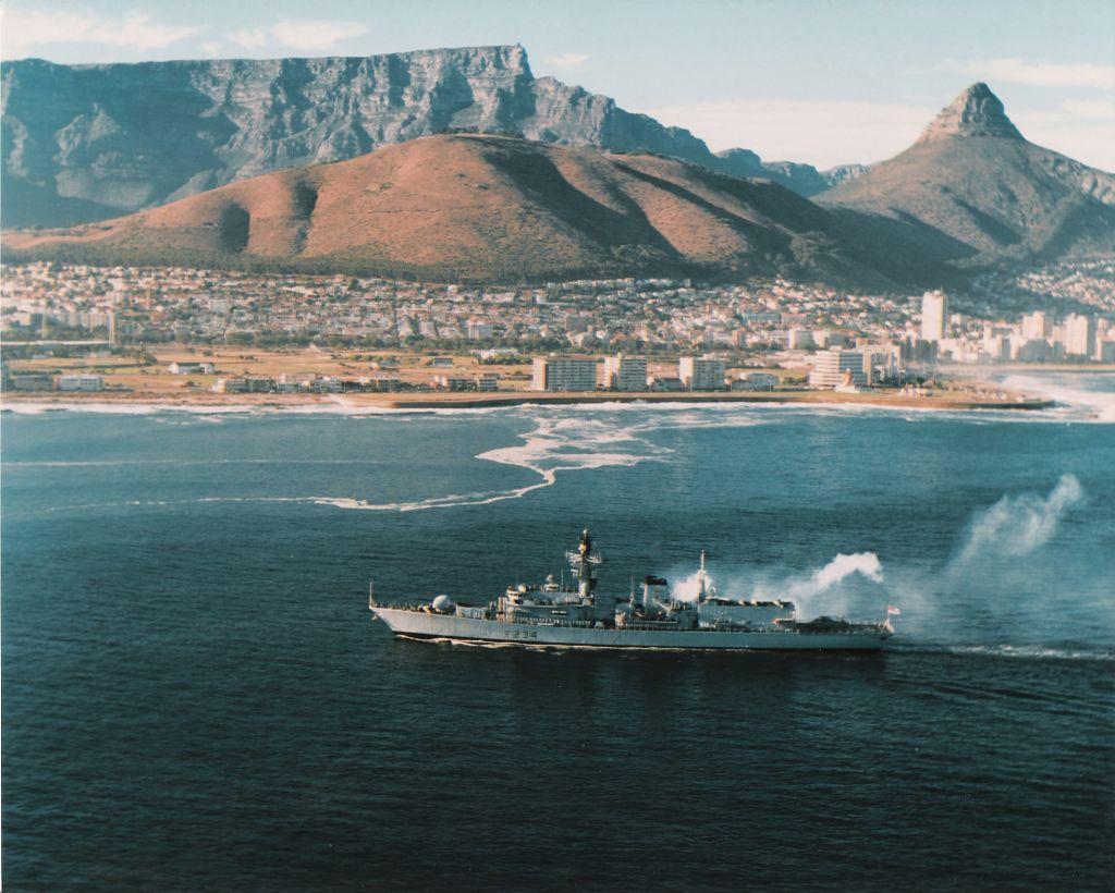 HMS Iron Duke - Entering Cape Town 1995