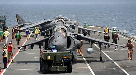 USMC AV-8B Harriers on board HMS Ark Royal in May 2010