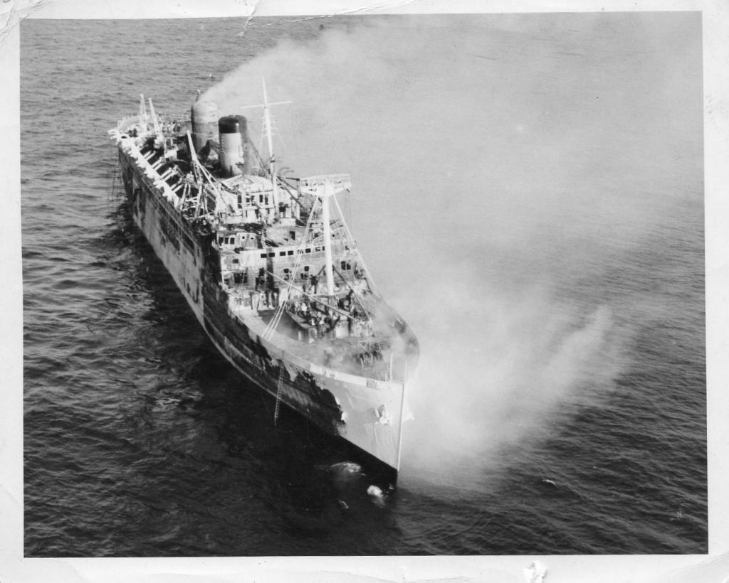 SS Lakonia on fire,Xmas 1963