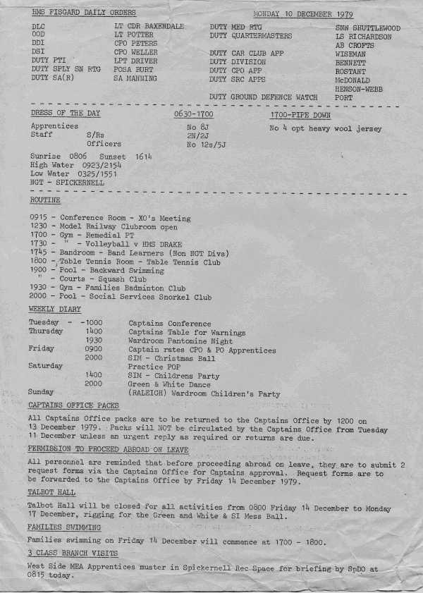 HMS Fisgard 1979