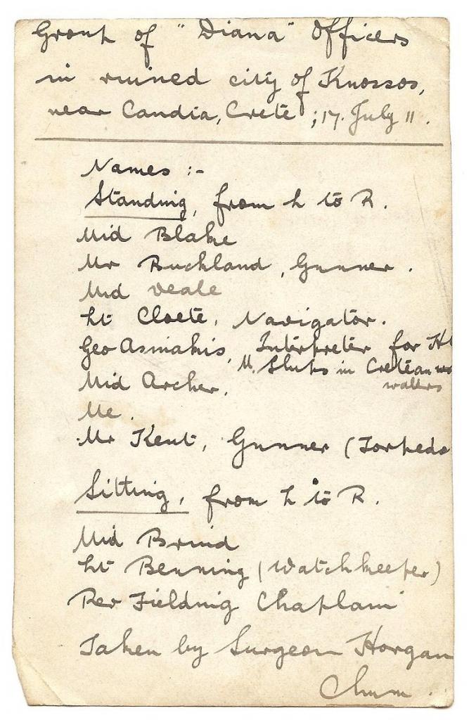 Names of crew HMS Diana 1911