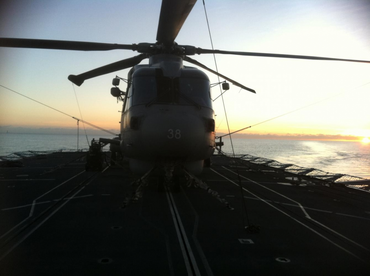 HMS Sutherland - Merlin Sunset