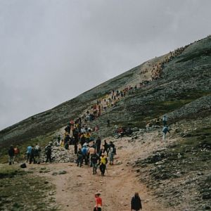 PILGRIM SUNDAY ON CRO PATRICK MOUNTAIN IRELAND