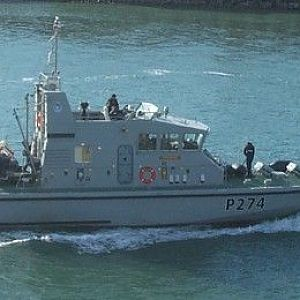 HMS Tracker entering Portsmouth on 7 October 2004