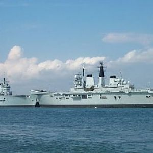HMS Illustrious and HMS Invincible at Portsmouth 2 Aug 2005
