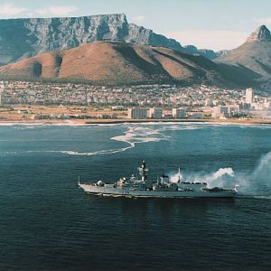 HMS Iron Duke - Entering Cape Town 1995