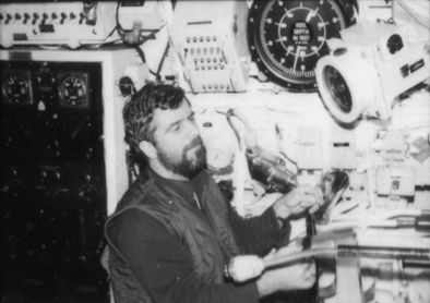 One man steering position HMS Onslaught