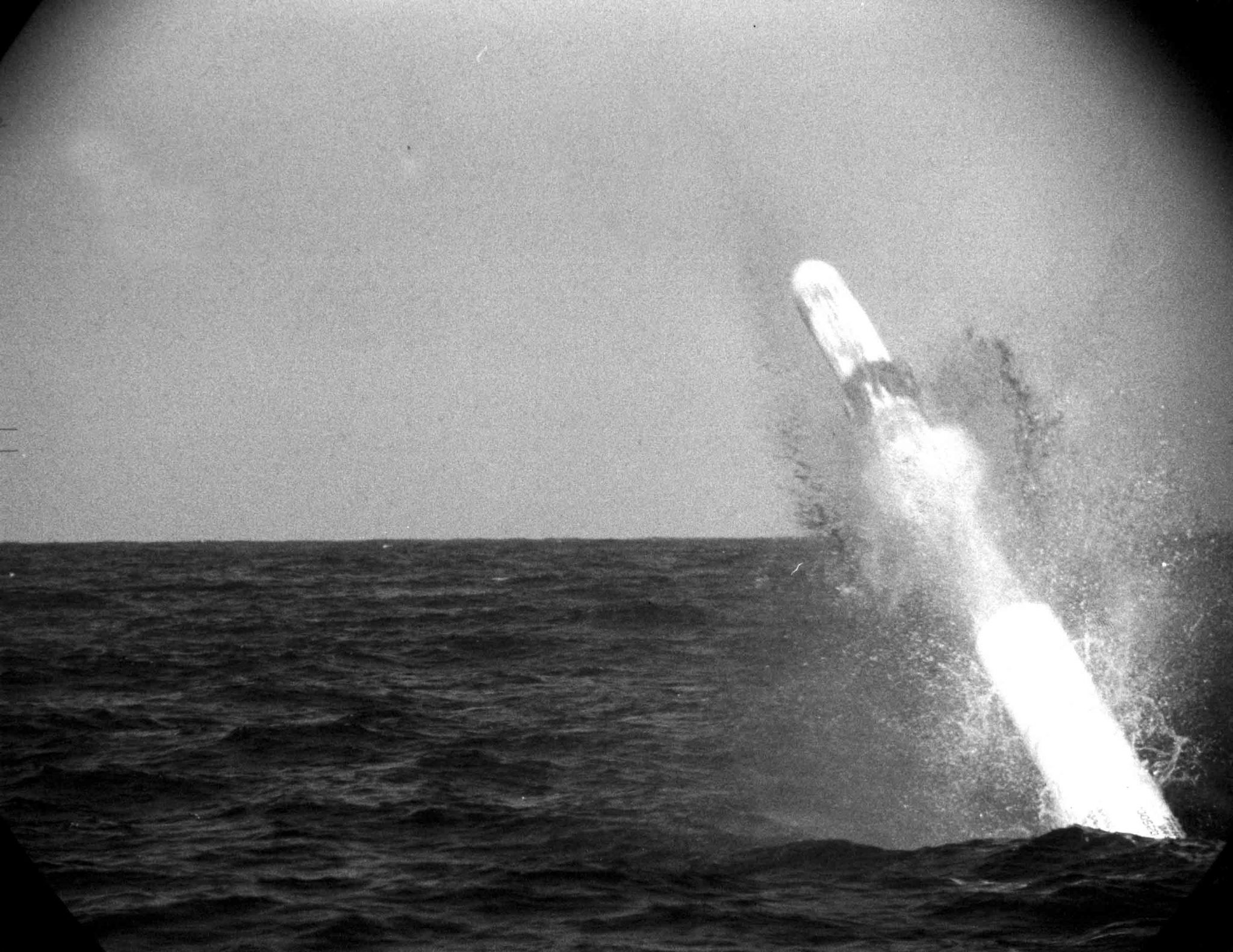 Sub harpoon firing from periscope HMS Courageous
